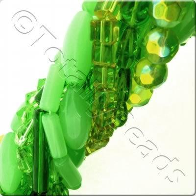 12 Strings Glass Bead Mix - Greens