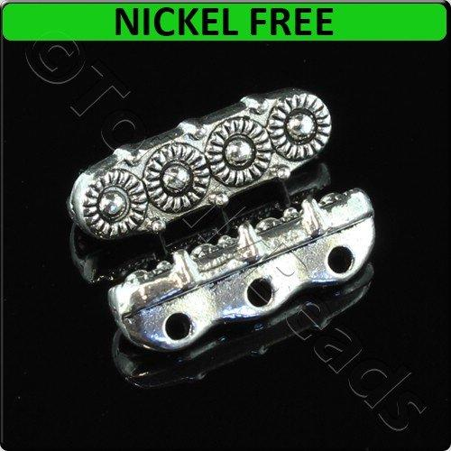 Antique Silver Metal Spacer Bar 3 Holes 4 Circles 14x5mm 20pcs