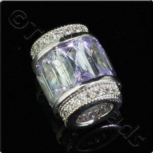 Pave Crystal Bead - Silver Lilac Barrel
