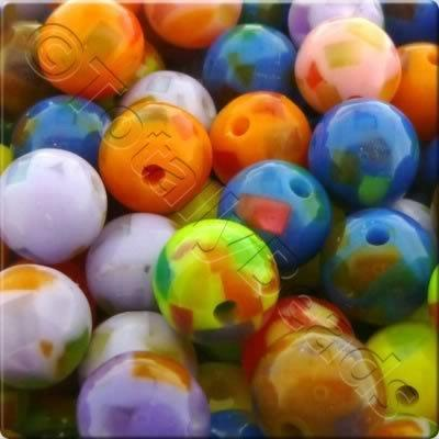 Resin Bead - Mosiac 10mm Round - Mixed