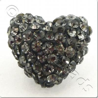 Shamballa Heart Bead - 20mm - Black Diamond