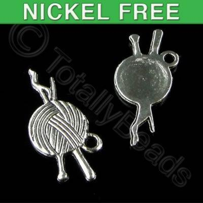 Antique Silver Charm - Yarn with needle 20mm