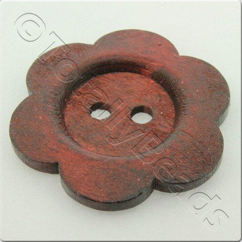 Wooden Flower Button 50mm - Wine Red
