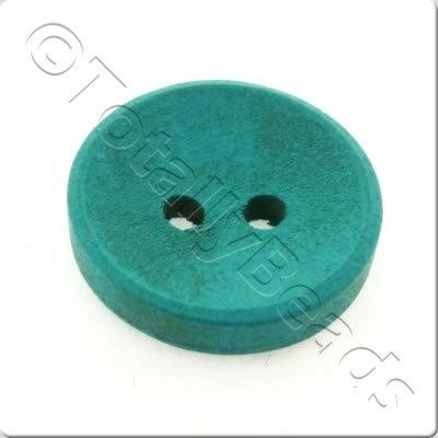 Concave Wooded Button 15mm - Turquoise