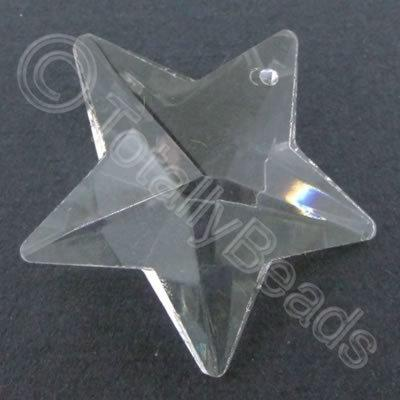 Glass Pendant Star Clear - 30mm