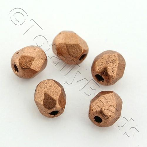 Czech Fire Polished 4mm Faceted - Matte Metallic Copper - 100pcs