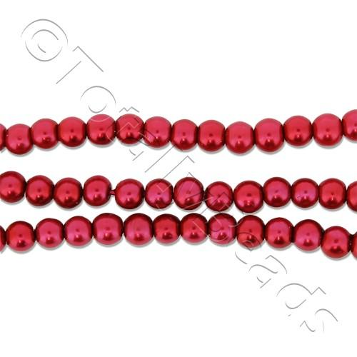 Glass Pearl Round Beads 3mm - Red