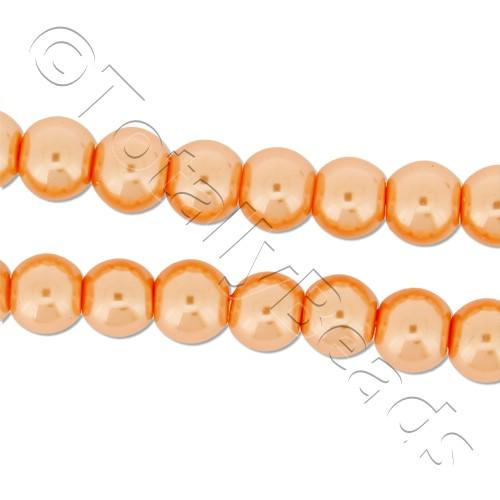 Glass Pearl Round Beads 6mm - Orange