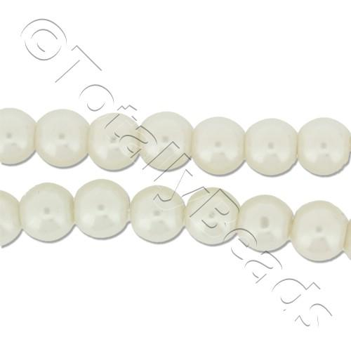 Glass Pearl Round Beads 6mm - White