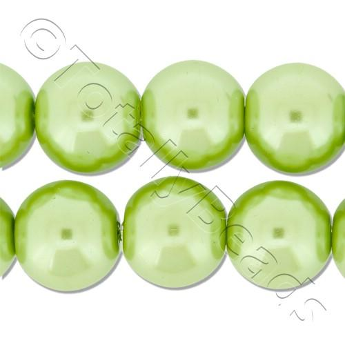 Glass Pearl Round Beads 12mm - Light Olive