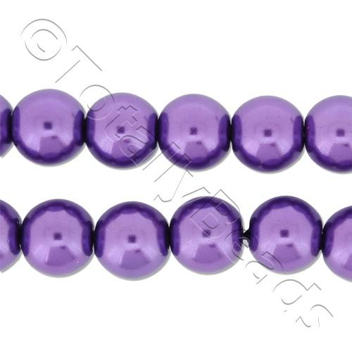 Glass Pearl Round Beads 8mm - Amethyst