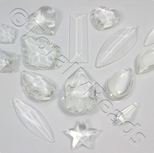 Glass Pendant Pack - Mix of 12 Pendants - Clear