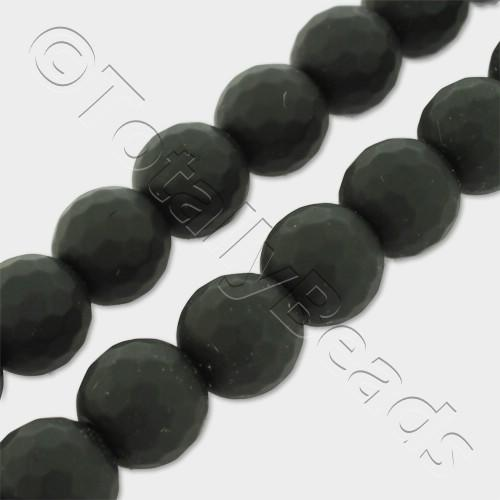 "Synthetic Onyx Round Faceted Beads 10mm Matt 16"" String"