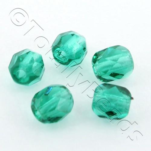 Czech Fire Polished 4mm Faceted - Emerald - 100pcs