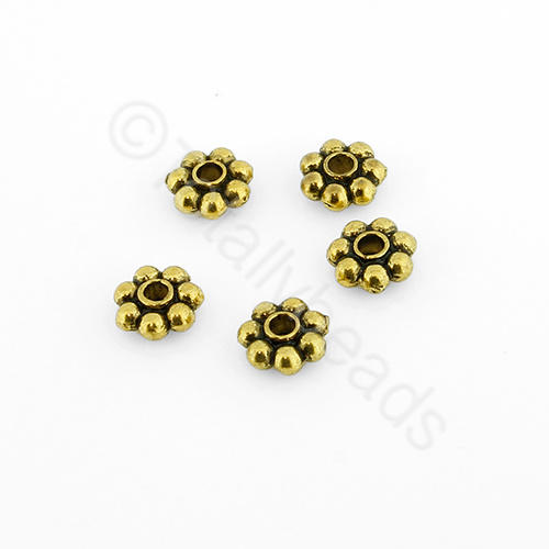 Tibetan Gold Bead - 5mm Flower Spacer