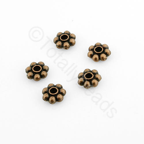 Tibetan Red Copper Bead - 5mm Flower Spacer