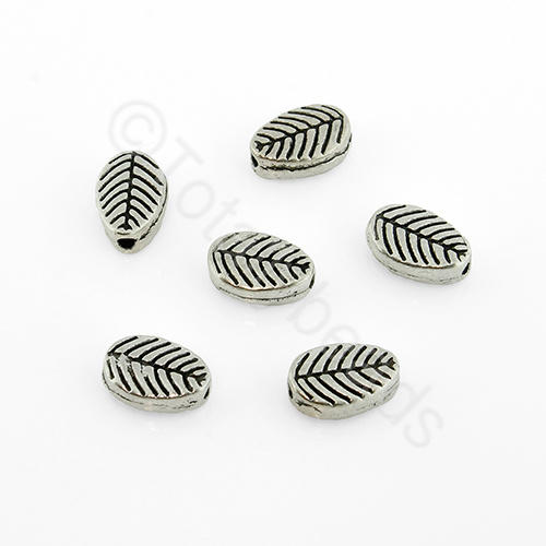 Antique Silver Bead - Flat Leaf 8mm 25pcs