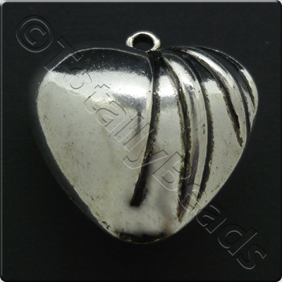 Metalised Antique Silver Heart 41x41x19mm - 3-line