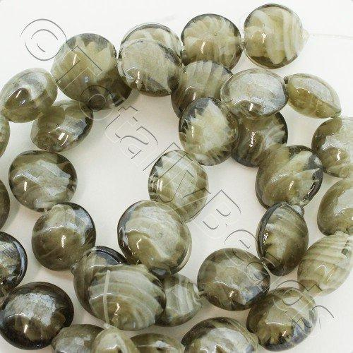 Lampwork Glass Beads Round 12mm - Grey Disc String