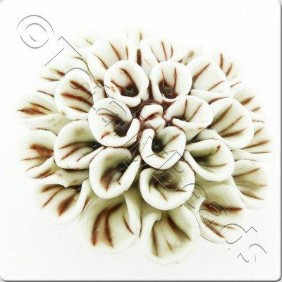 Ceramic Pendant - Flower - White&Brown