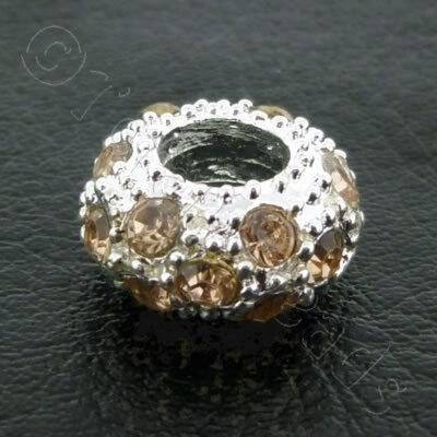 Diamante Large Hole Rondelle Spacer - 11x6mm - Champagne