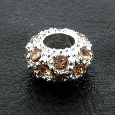 Diamante Large Hole Rondelle Spacer - 11x6mm - Peach