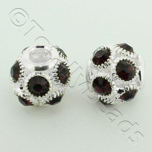 Large Hole Round Rhinestone Spacer Bead 14mm - Dark Purple