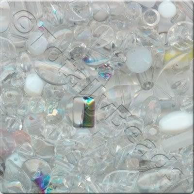 Mixed Glass Crystal Beads - Clear - 100g