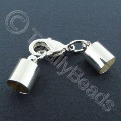 Kumihimo 7mm Barrel Lobster Clasp Silver - 2 sets