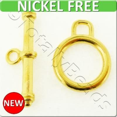 Gold Metal Toggle - Simple Ring 14mm 6 sets - A0032-G