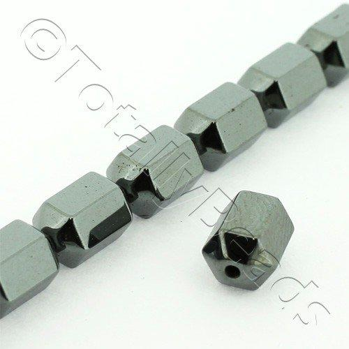 Hematite - Hex Barrel 8x5mm