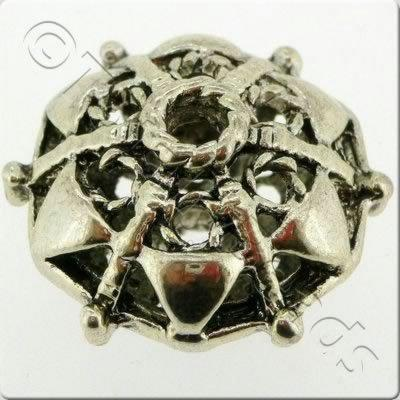 Tibetan Silver Bead - Hollow Hexagon Disc 20mm