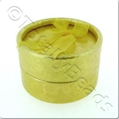 Jewellery Gift Box - Small Round - Gold Flower