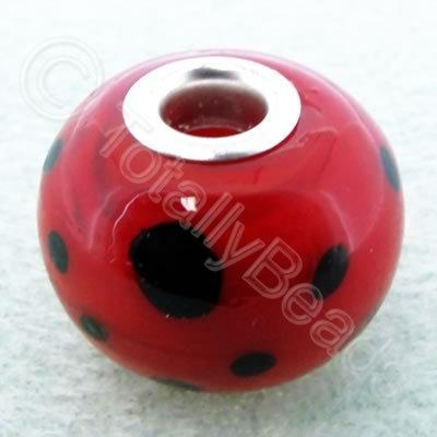 Lampwork Large Hole Bead 20mm - Red with Black dots