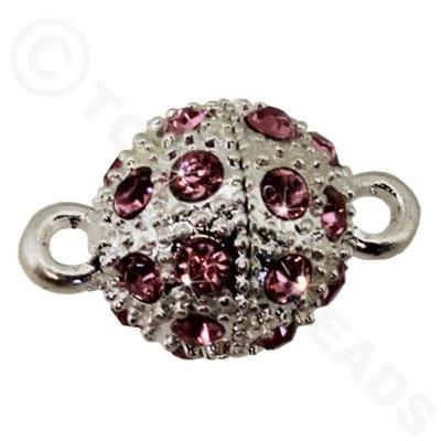 Magnetic Clasp Spotted Round 12mm Pink Crystals - Silver