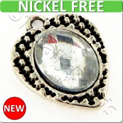 Antique Silver Metal Charm - Crystal Heart 17mm 4pcs - F15201
