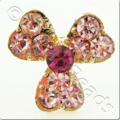 Metal-base Crystal Button - 3 Petal Flower Pink