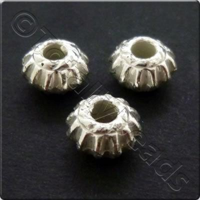 Metalised Acrylic Bead Ridged Rondelle 7.5x5mm - Silver 100pcs