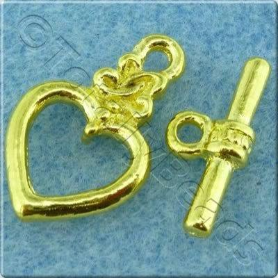 Toggle Clasp - Heart 20x12mm - Gold