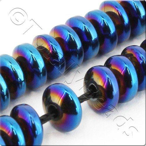 Hematite Rondelle 6mm - Blue Plated