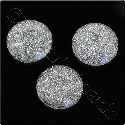 Resin Cabochon 10mm - Facet Sparkle Silver 10pcs
