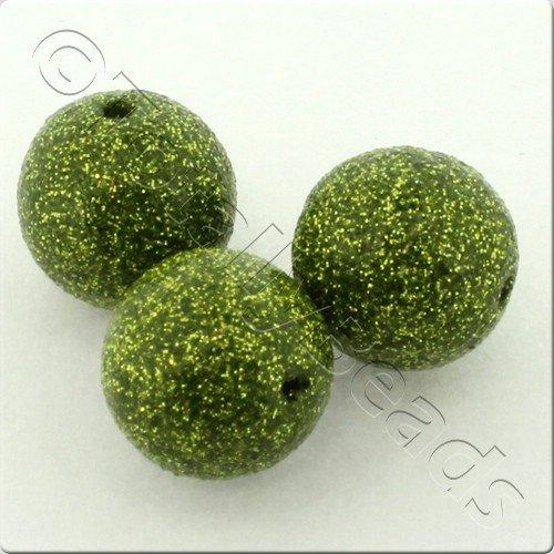 Resin Glitter Round 10mm Bead - Olive