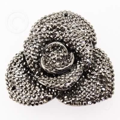 Resin Sparkle 3 Point Flower 40mm - Hematite