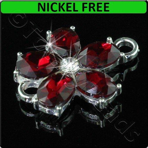 Silver Metal Connector Flower Red Crystal 20x25mm