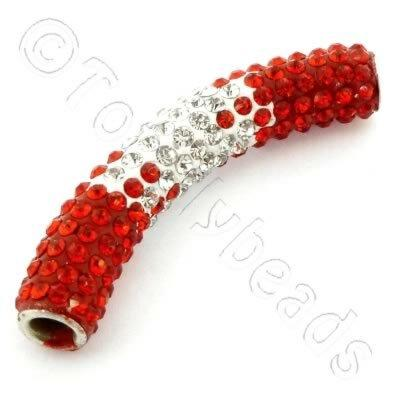Shamballa Spacer Tube 40-50mm - Light Siam and Crystal