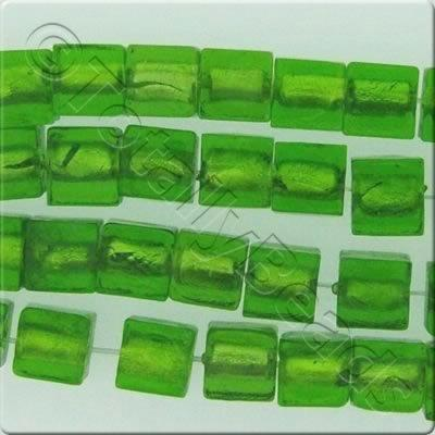 Silver Foil Cubes - 10mm - Lime Green