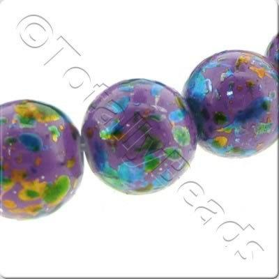 Splatter Glass Beads Round - Mauve