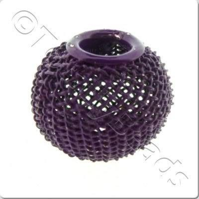 Wire Mesh Large Hole Bead - Purple