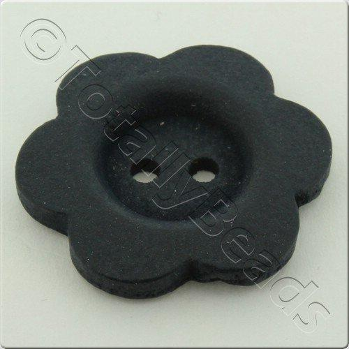 Wooden Flower Button 27mm - Navy Blue