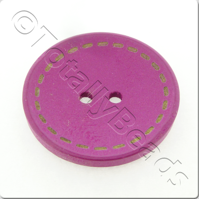Wooden Button Stitch Effect 30mm - Hot Pink